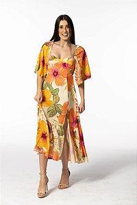 Vestido Midi Estampado Chita Morere Laranja Farm