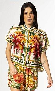 Camisa Cropped Estampada Bordando Lenço Farm