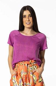 T-shirt Raglan de Linho Roxo Boreal Farm