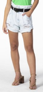 Shorts Clochard Jeans Claro com Cinto Open