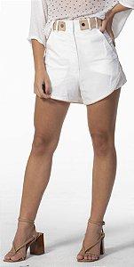 Shorts Linho Estruturado Off White com Detalhes Nude Open