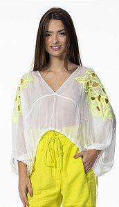 Blusa Cropped com Transparência e Bordado Neon Off White Open