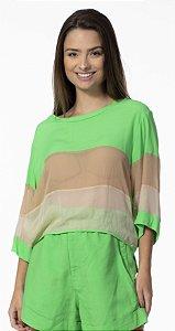 Blusa Três Cores Nude com Verde Open