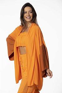 Kimono Duas Cores com Estampa Laranja Open