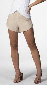 Shorts Linho Estruturado Bege Loam com Detalhes Nude Open