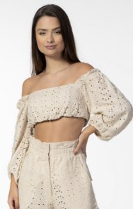 Top Cropped Ombro a Ombro Laise Nude Open