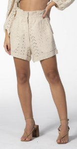 Shorts Clochard Linho Bordado Nude Open