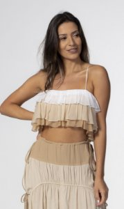 Top Cropped com Babados Nude com Off White Open