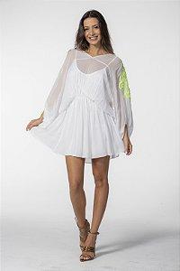 Vestido Curto Branco com Bordado Neon Open