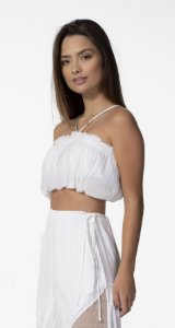 Top Cropped Balonê com Alças Finas Off White Open