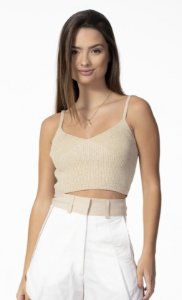 Top Cropped Tricot Dourado Open