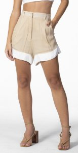 Shorts Soltinho Duas Cores Bege Loam com Off White Open