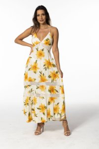 Vestido Cropped com Crochê Estampado Menina de Flor Farm