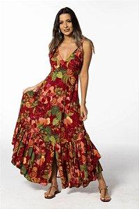 Vestido Longo Estampado Floral Frutado Farm
