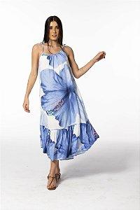 Vestido Midi Estampado Vestida de Flor Azul Farm