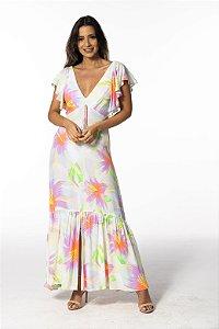 Vestido Longo Estampado Chita Bali Farm