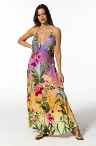 Vestido Cropped Estampado Flore de Onça Farm