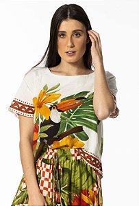 Blusa T-Shirt Estampada Desejo Tropical Farm