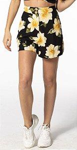 Shorts Linho Estampado Menina de Flor Farm