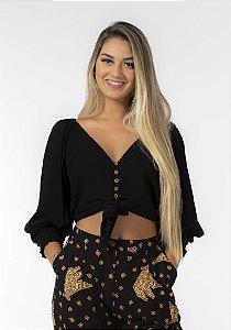 Blusa Feminina Com Botões e Amarração Preta Farm