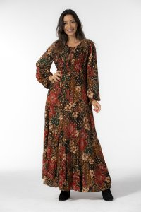 Vestido Longo Estampado Onça Flor Farm