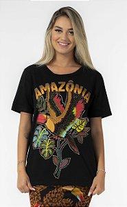 T-shirt Feminina Estampada Amazônia Preto Farm