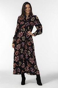 Vestido Cropped com Botões Estampado Cobras Coloridas Preto Farm