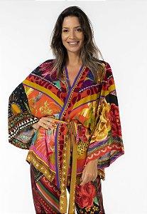 Kimono Estampado Misturinha de Lenços Farm