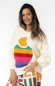 Blusa Pull Tricot Estampada Rainbow Off White Farm