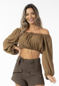 Blusa Cropped Ombro A Ombro Marrom Open