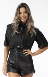 Blusa Cropped Preto Courino Open