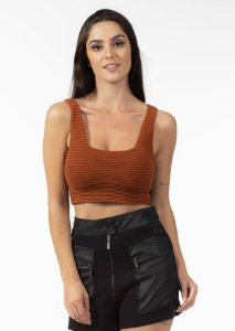 Top Cropped Tricot Marrom Cobre Open