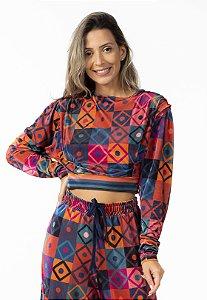 Blusa Cropped Veludo Estampado Mosaico Gráfico Farm