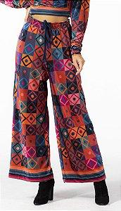 Calça Pantalona Feminina Veludo Estampado Mosaico Gráfico Farm