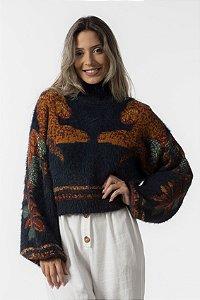 Blusa Sweater Feminino Com Pelinho Onça Cool Farm