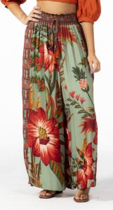 Calça Pantalona Estampada Maxi Floral Farm