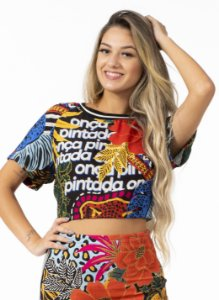 T-shirt Cropped Estampada Mix Selvagem Farm