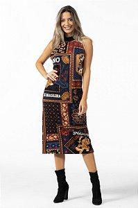Vestido Longo Moletom Estampado Mistura de Lenço Farm