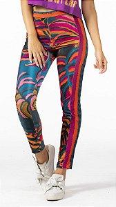 Calça Skinny Legging Veludo Estampado Folhagem Gráfica Farm