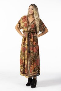 Vestido Longo Cropped Lenço Estampado Balina Farm