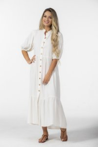 Vestido Midi com Botões Linho Off White Farm