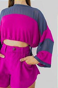 Blusa Cropped Crepe com Transparência Roxo Hipismo Open