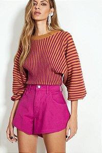 Blusa Cropped Tricot Estampado Listrado Rosa e Bronze Open