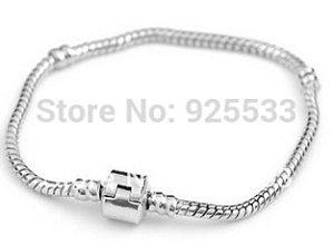 ATACADO-NAO PERCA- 10 pçs/lote prateado 19CM cadeias de moda jóias cobra grande buraco beads europeus pulseira DIY