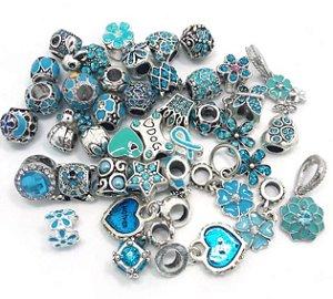 ATACADO-NAO PERCA-new 40 pcs estilo mix cor lago azul strass e oil-gotejamento encantos beads fit Europeu Pandora pulseira DIY