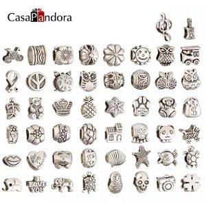 ATACADO-IMPERDIVEL-Casapandora 50 peças de prata-colorido liga encantos fit pandora pulseira cobra cadeia pulseira pulseira fazendo pingente berloque