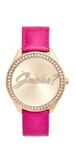 PINK AND GOLD-TONE LOGO WATCH