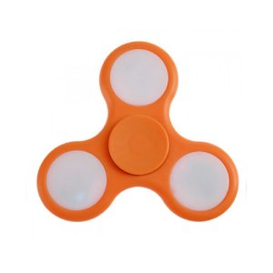 Fidget Hand Spinner Anti Stress Com Led Plastico Laranja