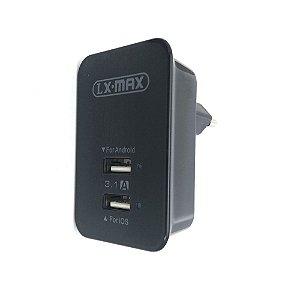 Fonte Carregador Turbo Power Lx-Max 3.1A Cabo Iphone Preto