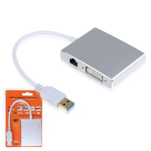 Adaptador USB 3.0 Para HDMI DVI VGA LAN Conversor de Video 1080p HD